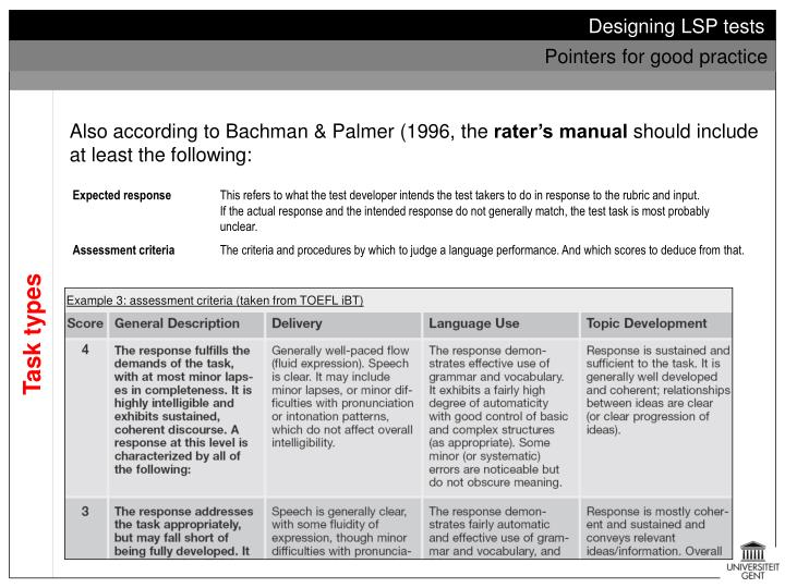 Bachman & Palmer (1996) suggest a framework of analysis which considers the following: