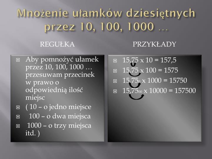 Mnożenie ułamków dziesiętnych przez 10, 100, 1000 …