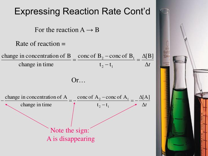 Expressing Reaction Rate Cont'd