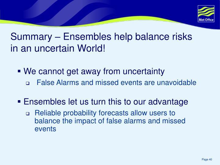 Summary – Ensembles help balance risks in an uncertain World!