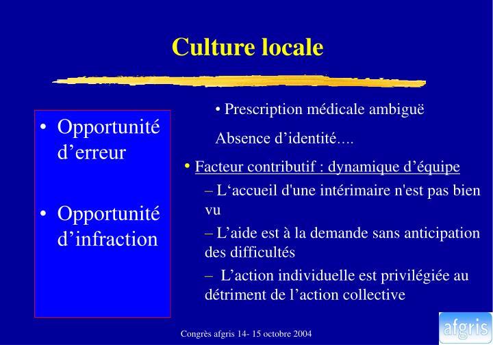 Culture locale