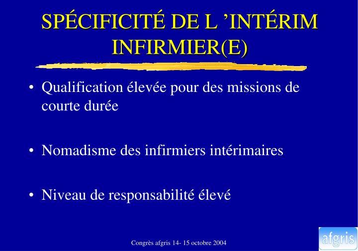 SPÉCIFICITÉ DE L'INTÉRIM