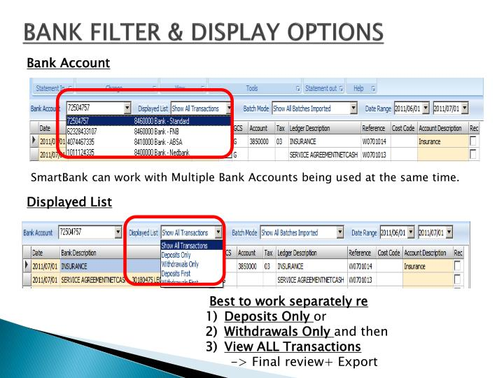 BANK FILTER & DISPLAY OPTIONS