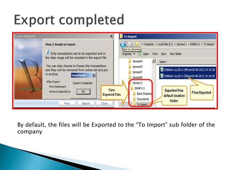 Export completed