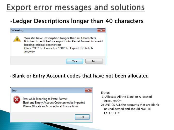 Export error messages and solutions