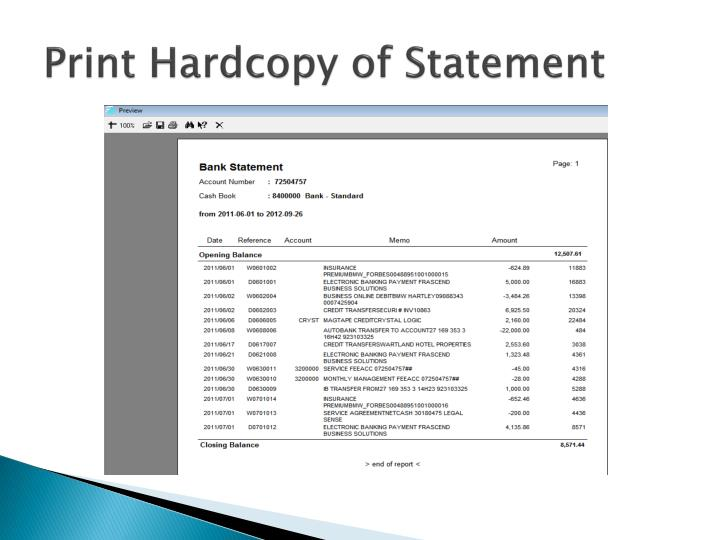 Print Hardcopy of Statement