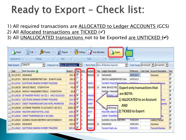 Ready to Export – Check list: