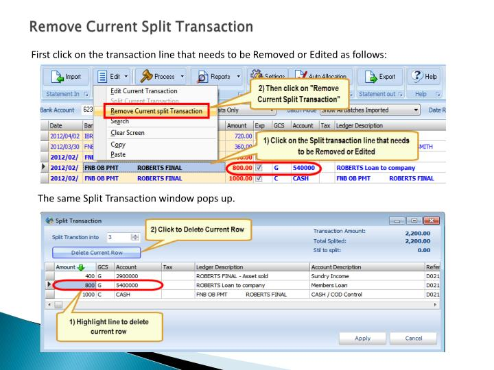 Remove Current Split Transaction