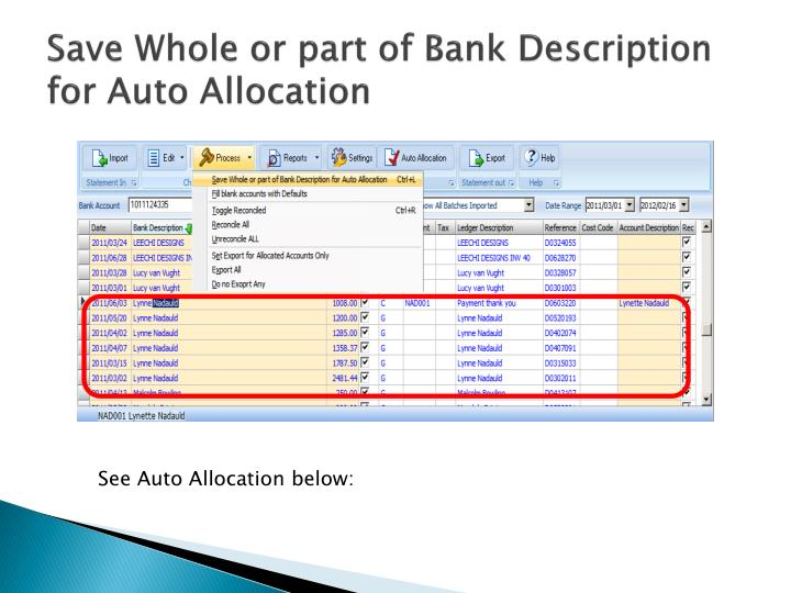Save Whole or part of Bank Description for Auto Allocation