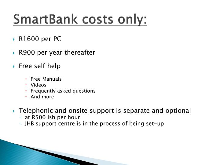 SmartBank costs only: