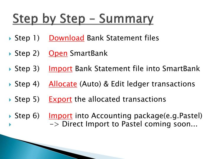 Step by step summary
