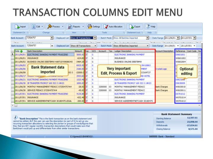 TRANSACTION COLUMNS EDIT MENU
