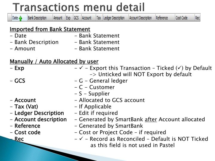 Transactions menu detail