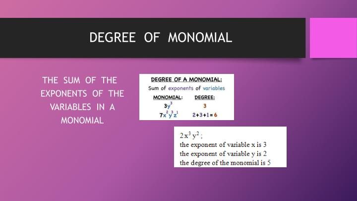 DEGREE  OF  MONOMIAL