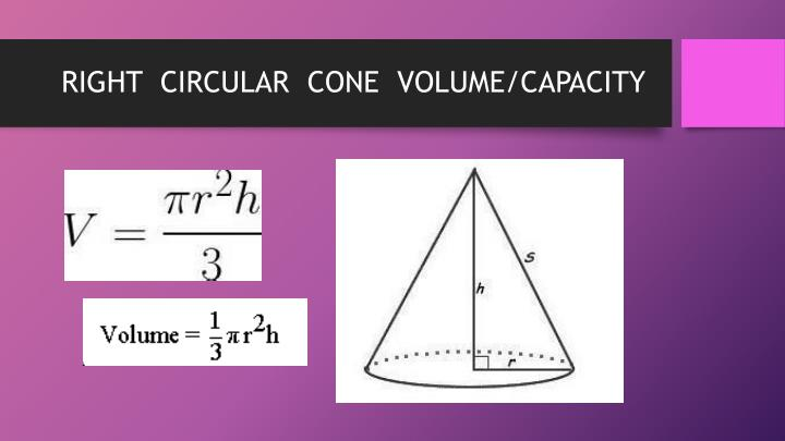 RIGHT  CIRCULAR  CONE  VOLUME/CAPACITY