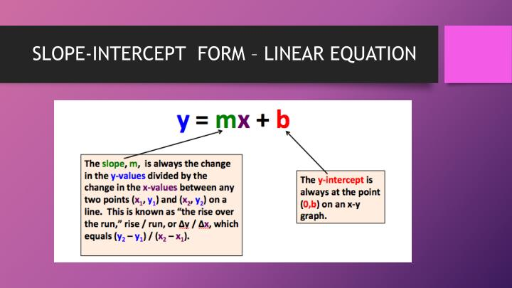 SLOPE-INTERCEPT  FORM – LINEAR EQUATION