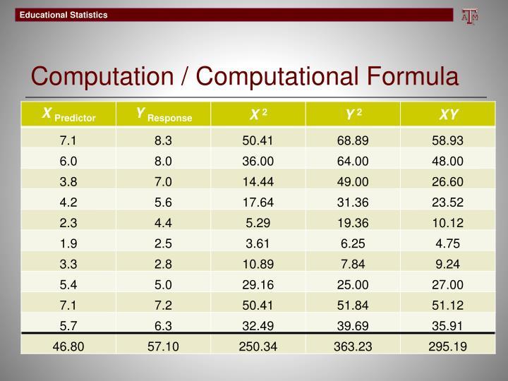 Computation / Computational Formula
