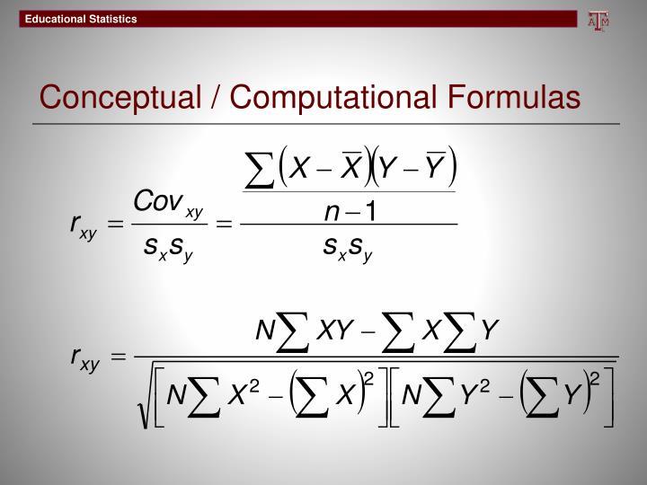 Conceptual / Computational Formulas