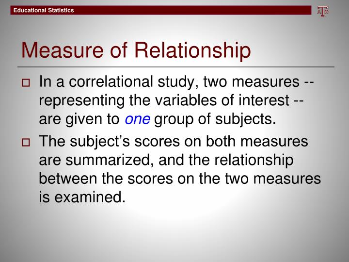 Measure of relationship