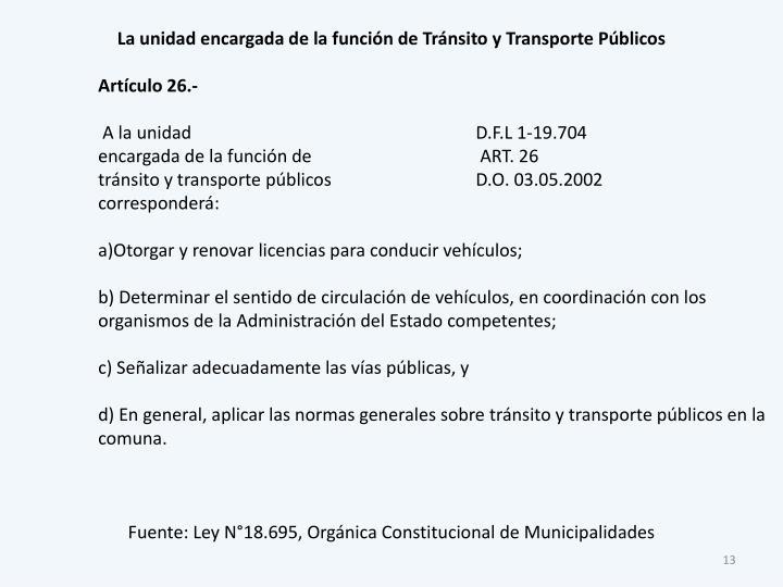 La unidad encargada de la función de Tránsito y Transporte Públicos