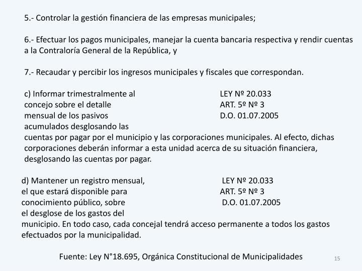 5.- Controlar la gestión financiera de las empresas municipales;