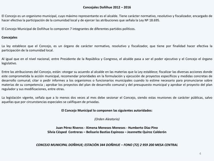 Concejales Doñihue 2012 – 2016