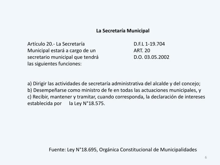 La Secretaría Municipal