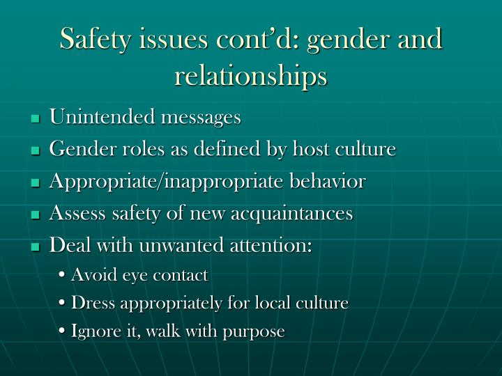 Safety issues cont'd: gender and relationships