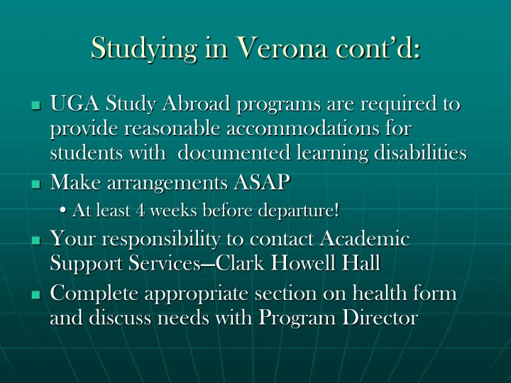 Studying in Verona cont'd: