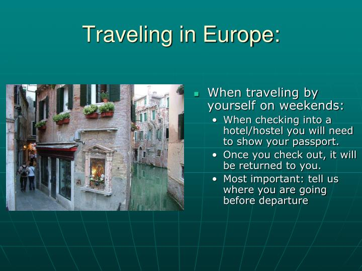 Traveling in Europe: