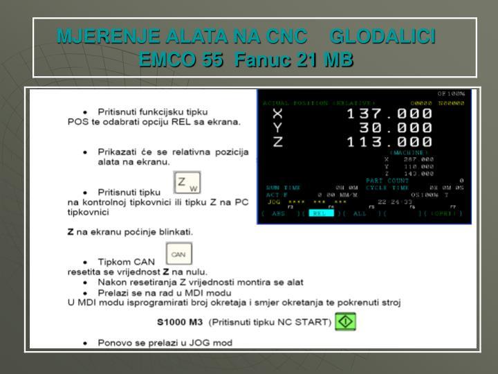 MJERENJE ALATA NA CNC    GLODALICI EMCO 55  Fanuc 21 MB