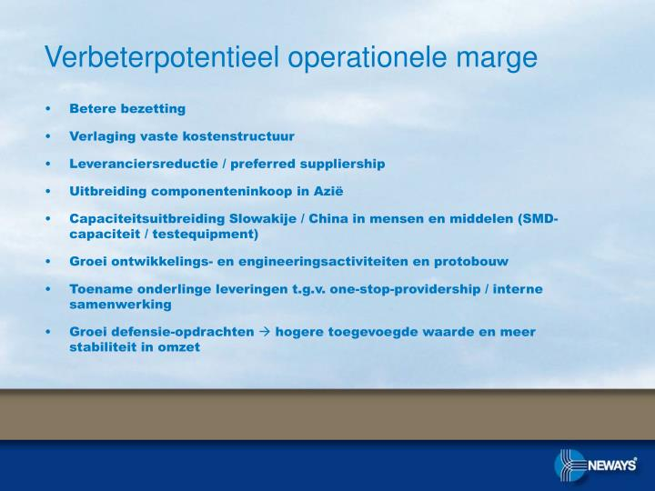 Verbeterpotentieel operationele marge