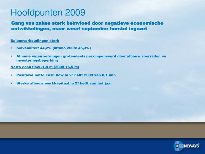 Hoofdpunten 2009