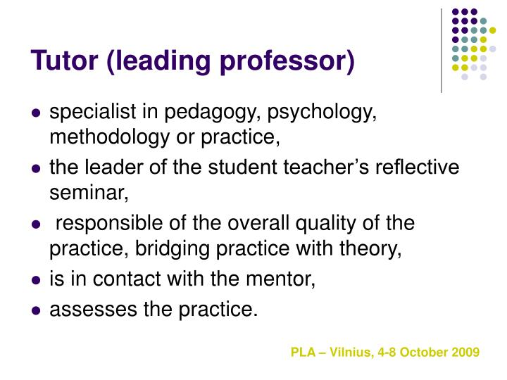 Tutor (leading professor