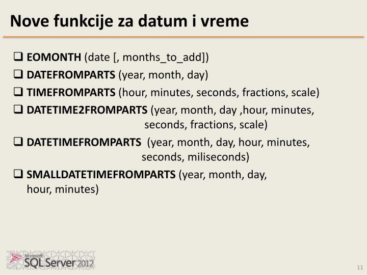 Nove funkcije za datum i vreme