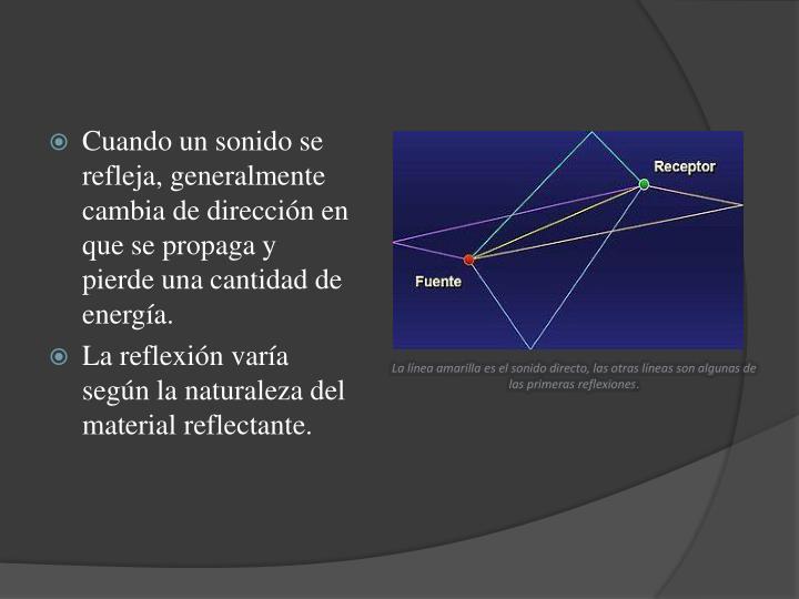 Cuando un sonido se refleja, generalmente cambia de dirección en que se propaga y pierde una cantidad de energía.