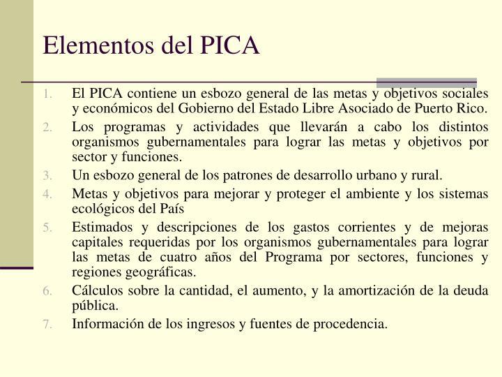 Elementos del PICA