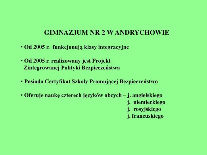 GIMNAZJUM NR 2 W ANDRYCHOWIE
