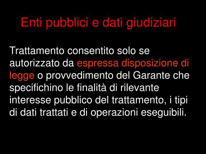 Enti pubblici e dati giudiziari