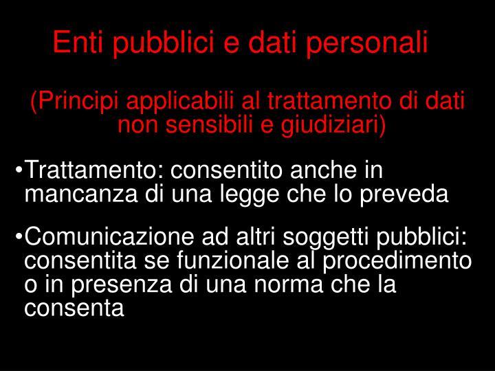 Enti pubblici e dati personali