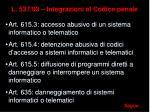 l 537 93 integrazioni al codice penale
