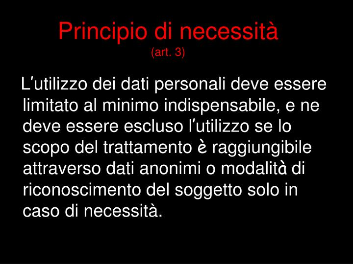 Principio di necessità