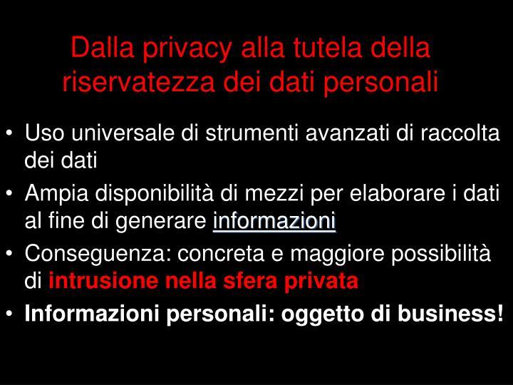 Dalla privacy alla tutela della riservatezza dei dati personali