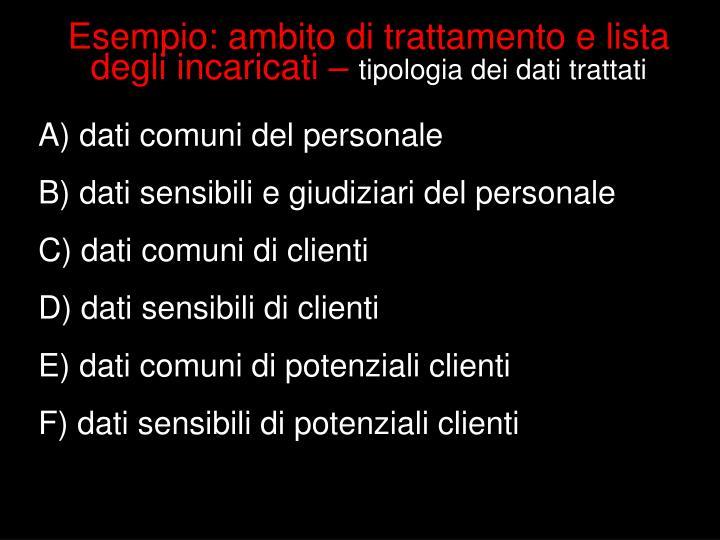 Esempio: ambito di trattamento e lista degli incaricati –