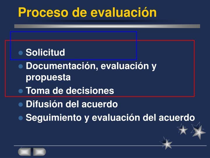 Proceso de evaluación