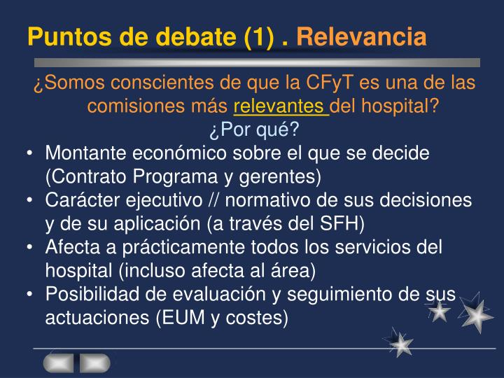 Puntos de debate (1) .