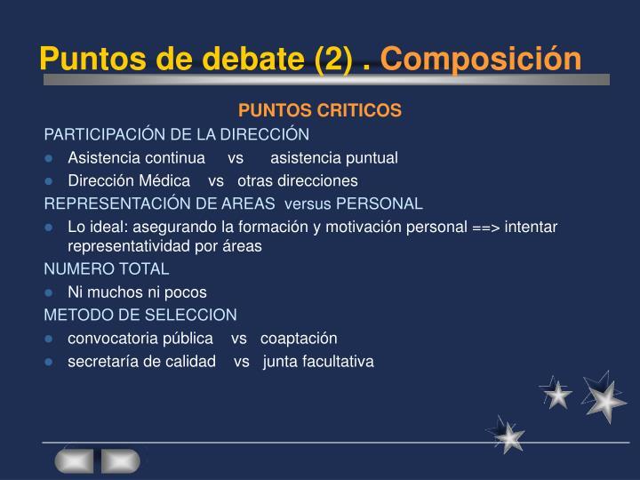 Puntos de debate (2) .