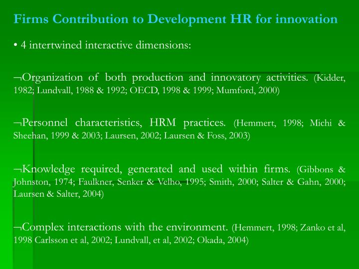 Firms Contribution to Development HR for innovation