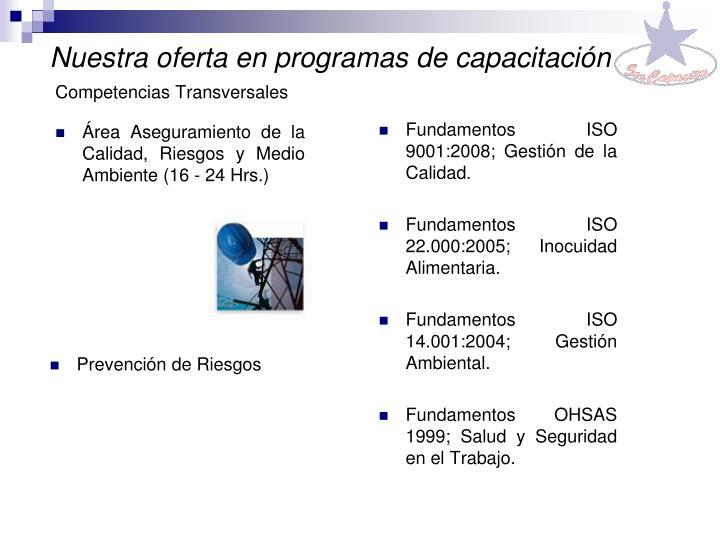 Nuestra oferta en programas de capacitación