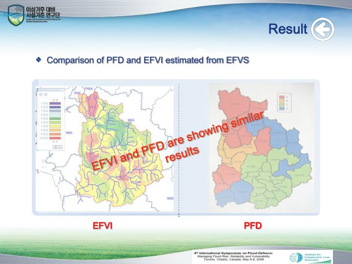 EFVI and PFD are showing similar results